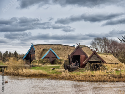 Photo  Viking harbor with longboats in Bork