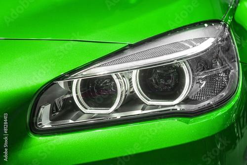 Fototapeta Close up of modern Car Head light obraz na płótnie