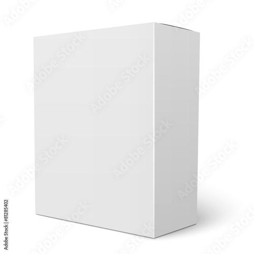 Photographie  Modèle de boîte en carton verticale blanche.