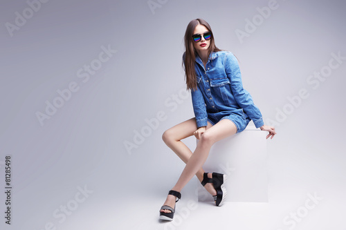 Fotografie, Obraz  high fashion portrait of young elegant woman. Studio shot
