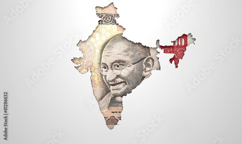 Staande foto Afrika Recessed Country Map India