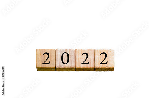 Poster  Year 2022 isolated on white background with copy space