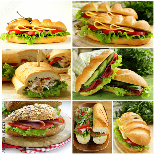 Foto op Canvas Snack collage of different sandwiches