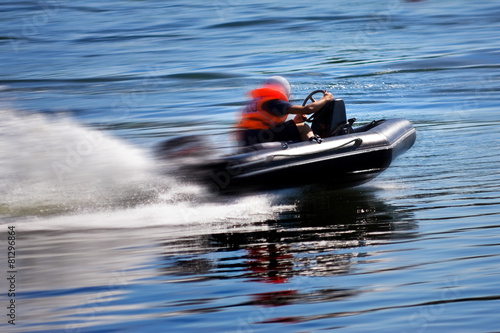 Spoed Foto op Canvas Water Motor sporten Rushing boat during the race