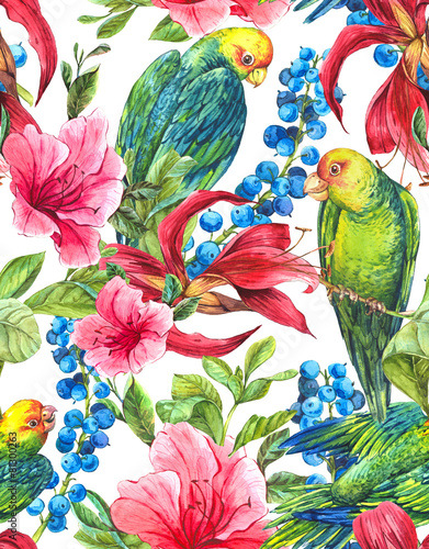 Foto auf AluDibond Ziehen Seamless Background with Tropical Flowers, Parrots