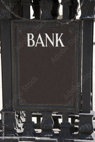 Bank Sign in Urban Setting Poster
