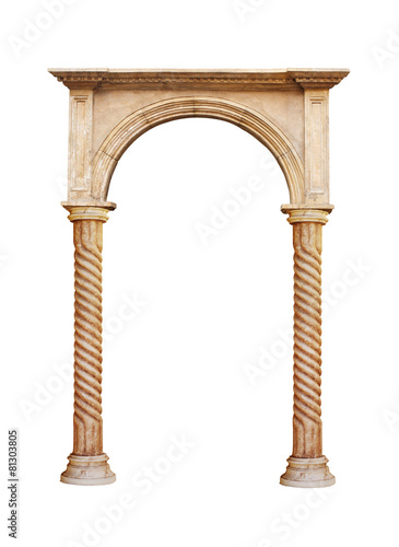 Pinturas sobre lienzo  Columna griega aislado en el fondo blanco