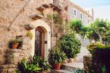 Fototapeta Fototapety na drzwi - Street old traditional houses at Waldemossa, Mallorca island