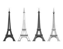 Eiffel Tower In Paris Vector Silhouette