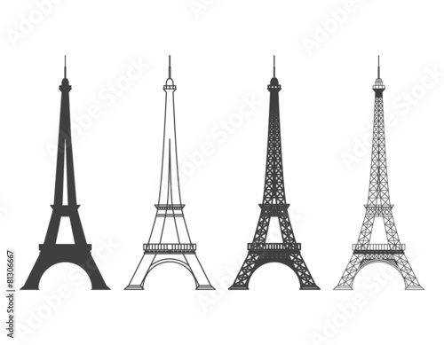 Leinwand Poster Eiffel Tower in Paris Vector Silhouette