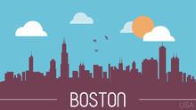 Boston USA Skyline Silhouette ...