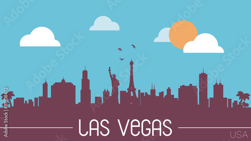 Photo  Las Vegas USA skyline silhouette vector design.