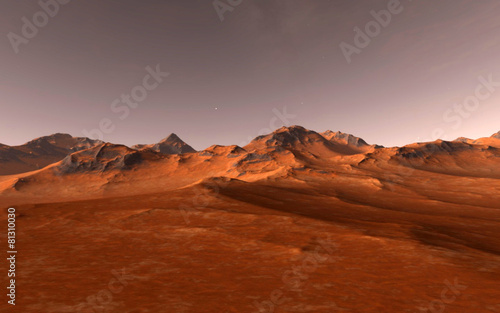 Foto op Canvas Rood paars Mars Scientific illustration