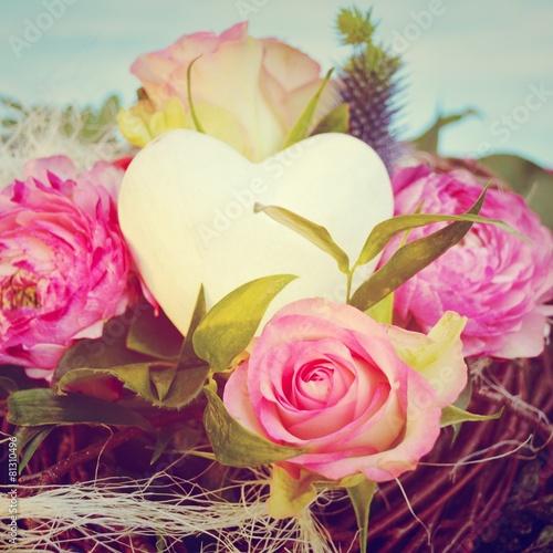 Grusskarte Blumenstrauss Mit Herz Vintage Buy This Stock Photo