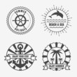 Set of sea and summer nautical signs, badges and labels. Vector