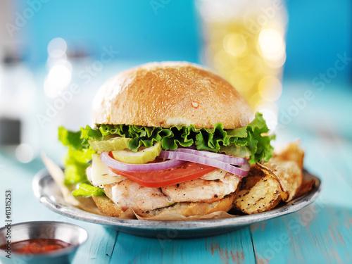 Vászonkép grilled chicken sandwich shot from eye level