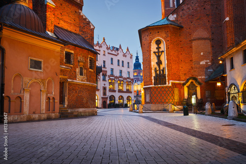 Fototapeta A street in the old town of Krakow, Poland. obraz