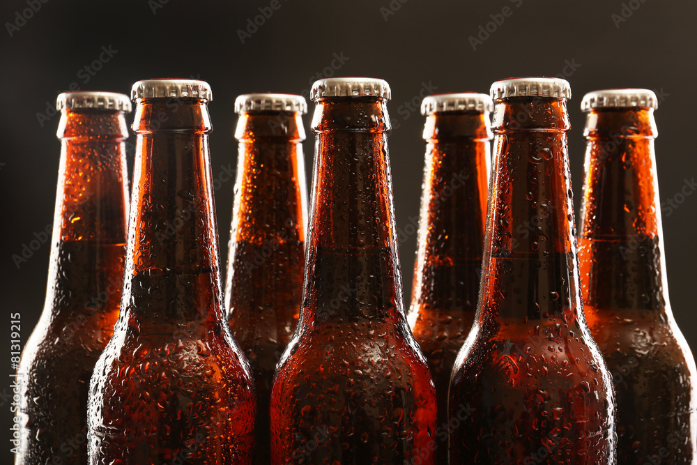 Fényképezés  Glass bottles of beer on dark background