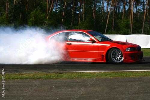 Fotomural rauchende Auto Reifen