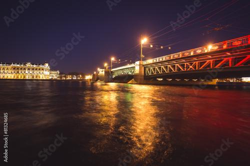 Photo  Saint-Petersburg, Russia, Palace Bridge and embankment, night