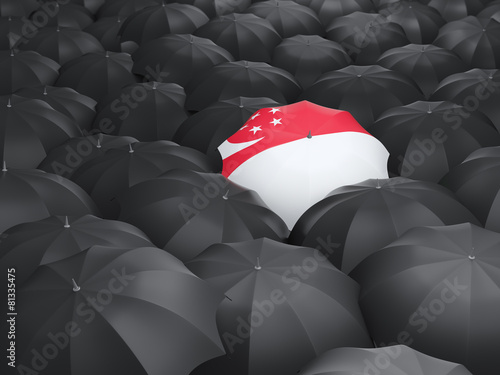 Umbrella with flag of singapore Poster