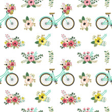 Spring Seamless Pattern With Flowers And Bicycles.