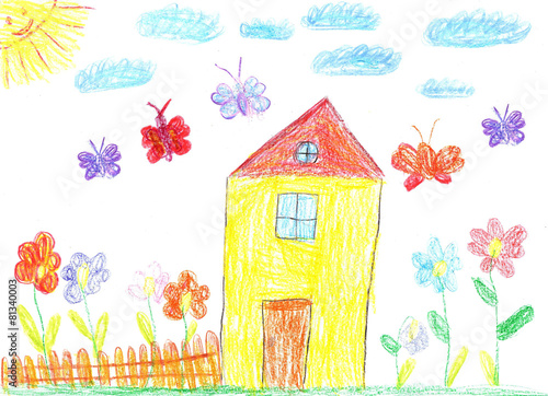 Fotografía  Child drawing of a house