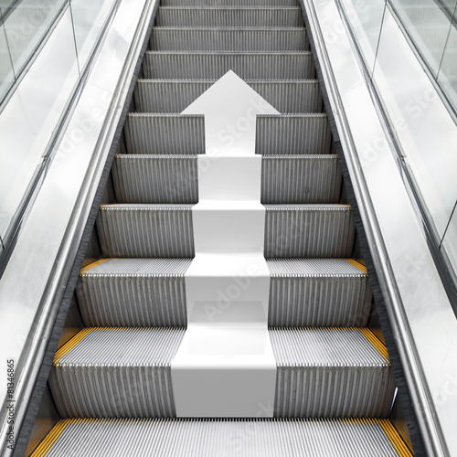 Photo Shining metal escalator with white 3d arrow