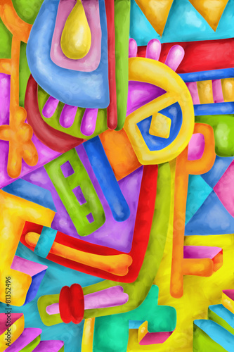 In de dag Klassieke abstractie Abstract with colorful shapes