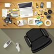 Designer desk photographer, Top view of desk background