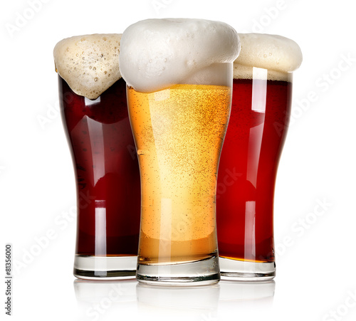 Deurstickers Alcohol Three beers isolated