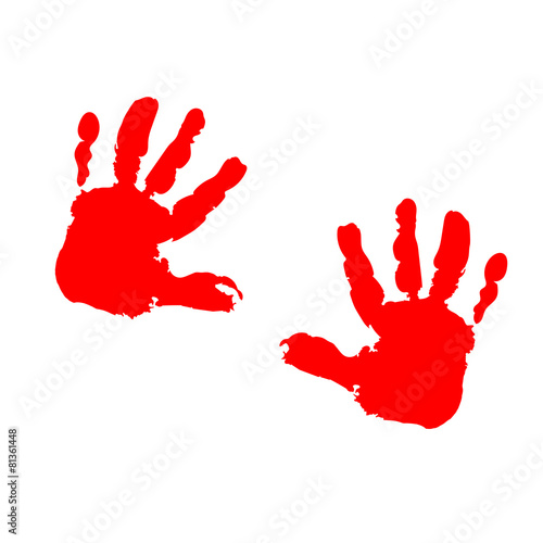 Valokuva  two red children's palm prints on a white background