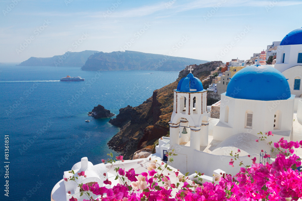Fototapety, obrazy: view of caldera with blue domes, Santorini
