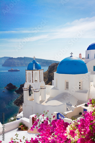 Fototapeta view of caldera with blue domes, Santorini obraz