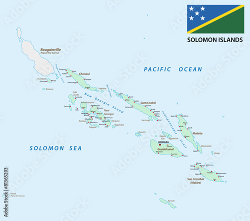 solomon Islands map with flag - Buy this stock vector and