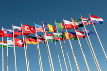 Flags On Flagpoles Fluttering ...