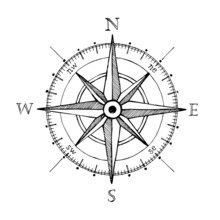 Compass Wind Rose Hand Drawn V...