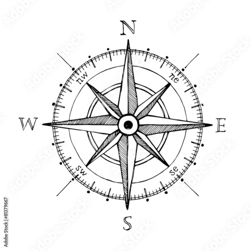 Tuinposter Schip Compass wind rose hand drawn vector design element