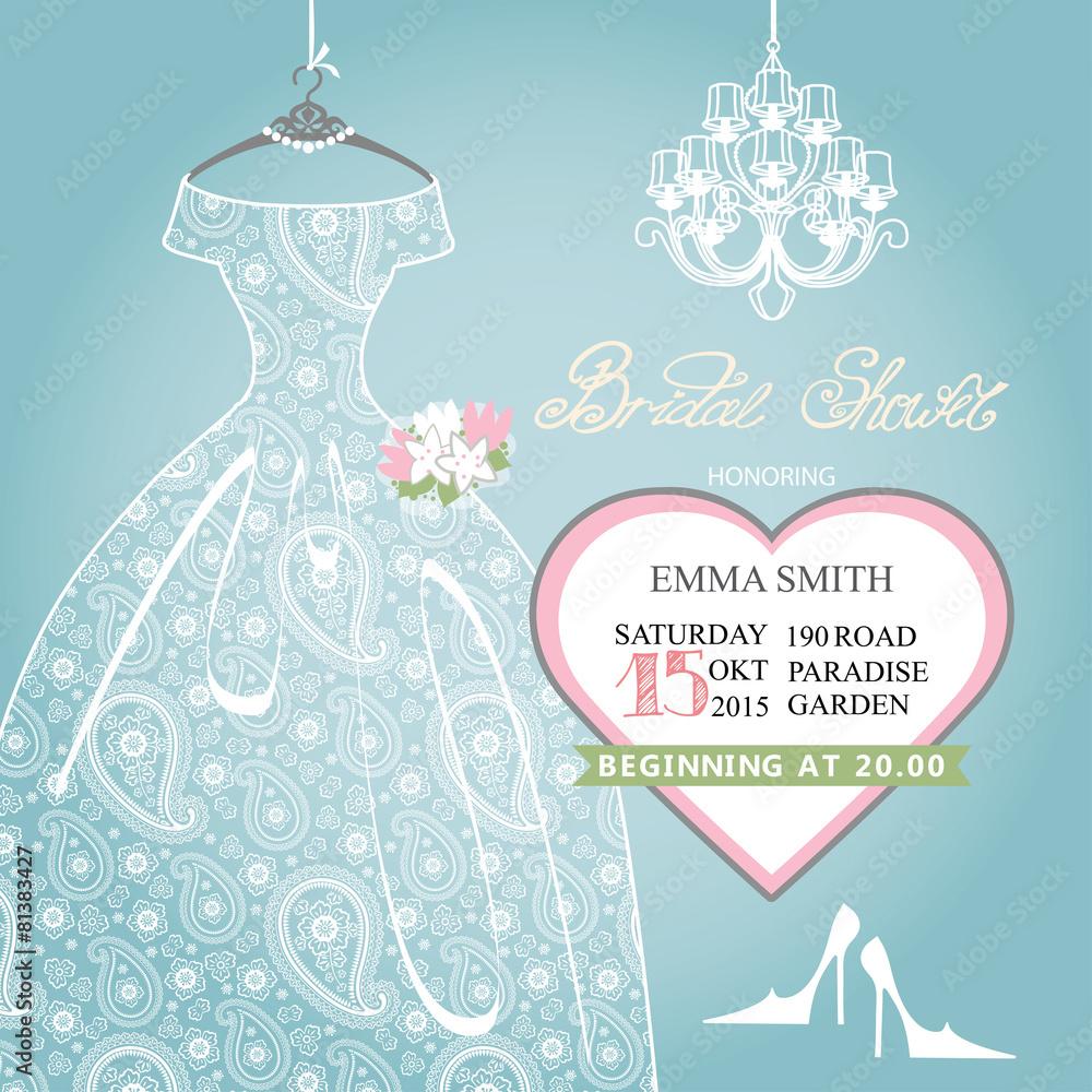 Fotografía Bridal Shower Invitationwedding Lace Dress On