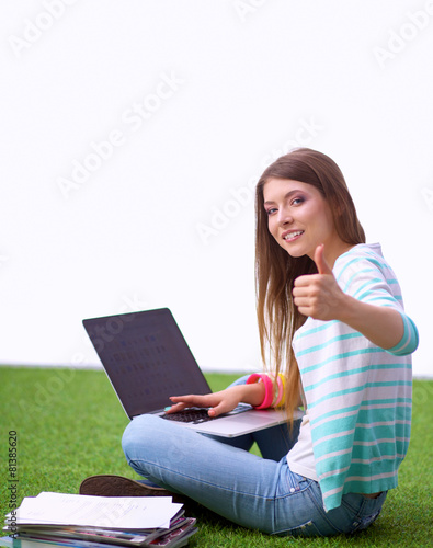 Fotografie, Obraz  Young woman with laptop sitting on green grass and showing ok