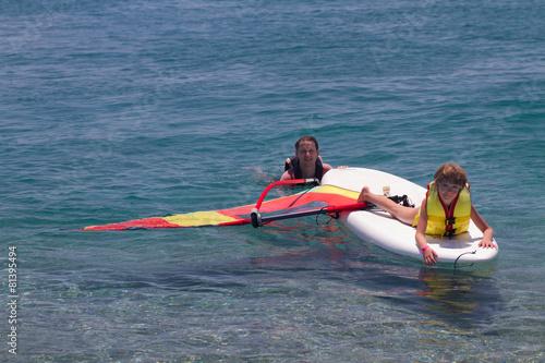 Windurfing fun at sea