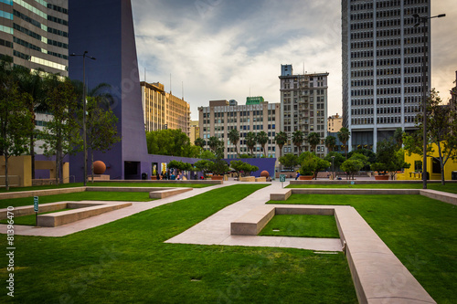 Staande foto Los Angeles Pershing Square and buildings in downtown Los Angeles, Californi