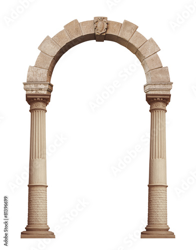 Photo Beautiful antique arch isolated on white background