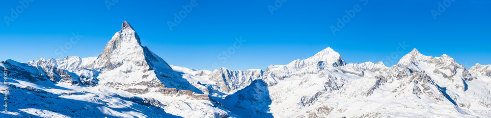 Fototapety, obrazy: Panorama view of Matterhorn and Weisshorn