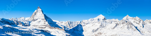 Photo Stands Blue jeans Panorama view of Matterhorn and Weisshorn