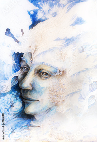 Blue fairy man face portrait with gentle abstract structures