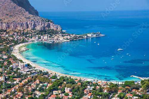 Fotobehang Palermo Panoramic view of Mondello white beach in Palermo, Sicily.