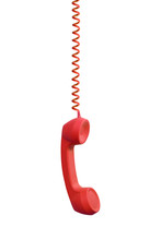 Red Phone Receiver Hanging, Isolated On White Background