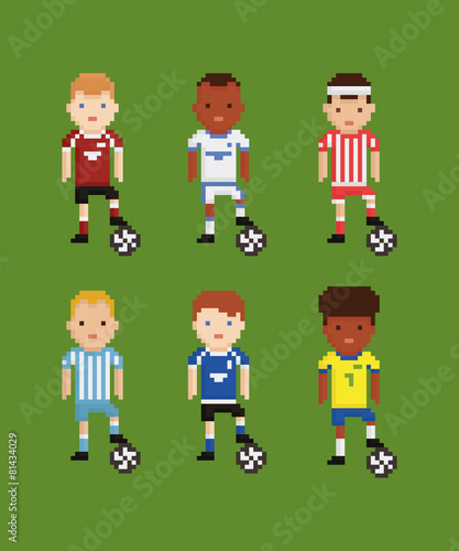 Pixel Art Style Vector Set Football Soccer Players In