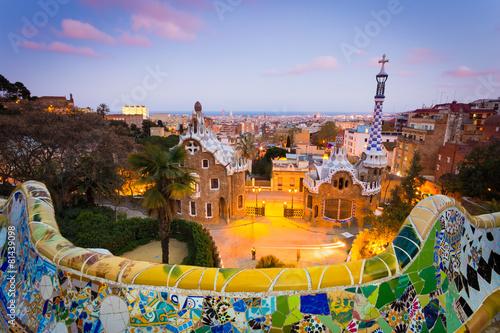 In de dag Barcelona Barcelona, Park Guell after sunset